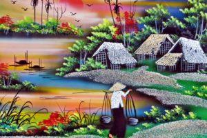 Vietnam, Saigon, Peinture, Laque, Décoration, Tableau
